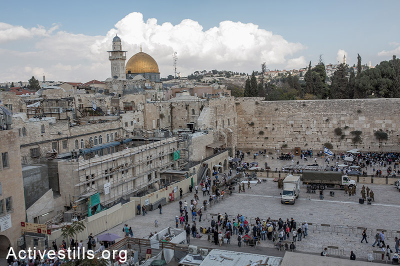 A view on the Old City of Jerusalem after Israeli authorities temporarily closed the al-Aqsa Mosque compound, on October 30, Israel's closure of the flashpoint Al-Aqsa mosque compound to all visitors following the shooting of a Jewish hardliner the night before. (Activestills.org)