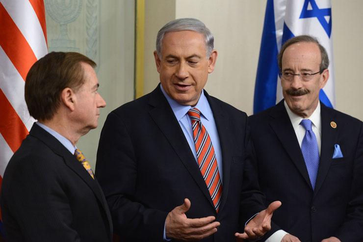 Israeli Prime Minister Benjamin Netanyahu meets with U.S. Rep. Ed Royce (Left) and U.S. Rep. Eliot L. Engel (Right). (Photo by Kobi Gideon/GPO)