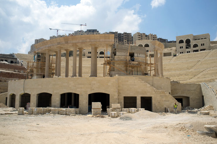 "Work continues on the Roman Amphitheater, called Wadina, Arabic for our valley. The concert scheduled to take place there this month was canceled in solidarity with the Palestinian lives lost in Gaza. ""This is not party time,"" Mr. Masri told the 'New York Times.' ""Far from it."" (Photo by Ben Drusinsky)"