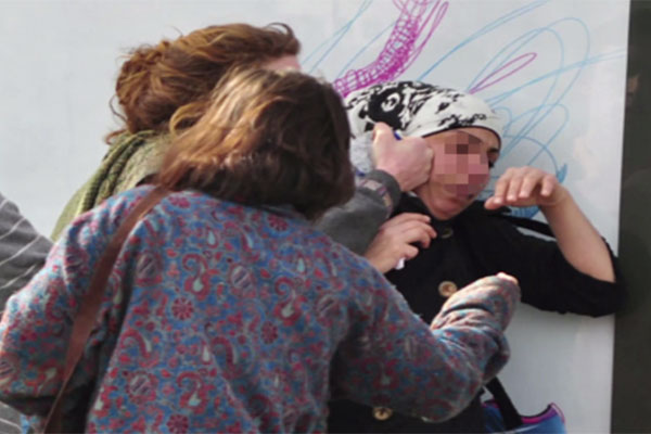 The incident in Jerusalem, as photographed by Dorit Jordan-Dotan. (Screenshot from the fundraising campaign.)