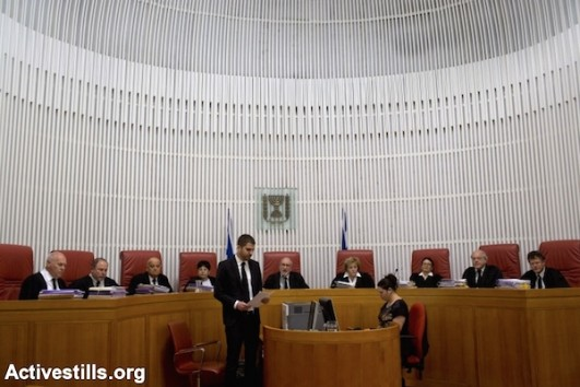 Israel's Supreme Court sits as the High Court of Justice, April 1, 2014. (Photo by Oren Ziv/Activestills)
