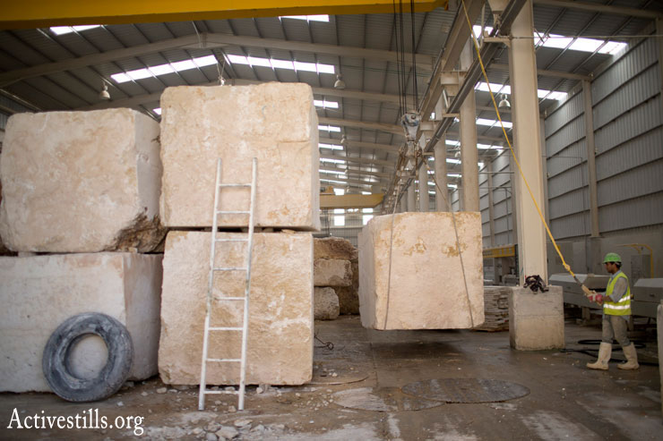 The stone cutting factory in Rawabi. (Photo by Oren Ziv/Activestills.org)