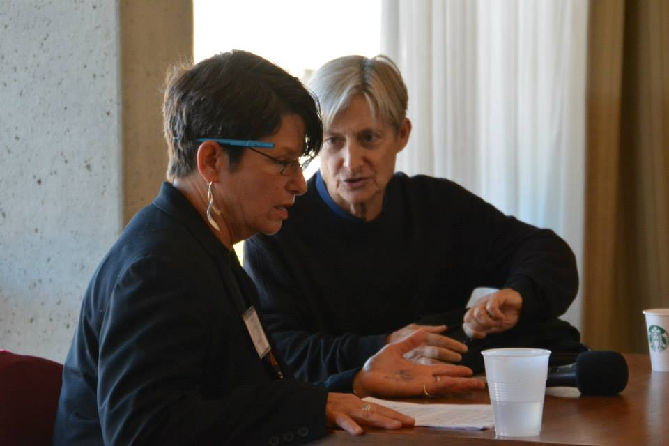 Penny Rosenwasser and Judith Butler speak during a panel at the Open Hillel Conference. (photo courtesy of Open Hillel)