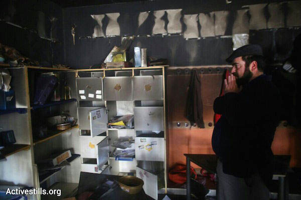 A burned first-grade classroom at Jerusalem's bilingual school after it was the target of an arson attack, November 30, 2014. (Photo by Activestills.org)