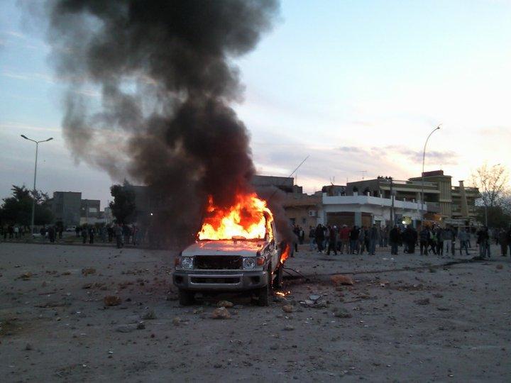 First demonstrations calling for toppling the regime in Badya, Libya (photo: ليبي صح )