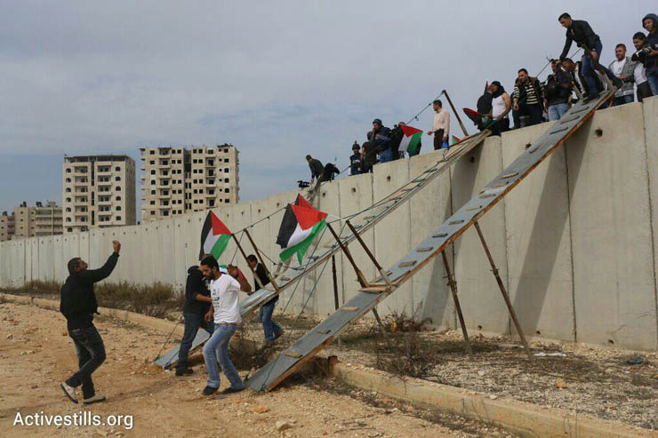 Palestinians and international activists use make-shift bridges to cross the separation wall between Qalandiya and Jerusalem, November 14, 2014. (Photo by Oren Ziv/Activestills.org)