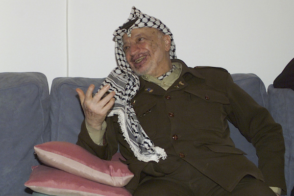 PLO Chairman Yasser Arafat in Davos, Switzerland, January 28, 2001. (UN Photo/Evan Schneider)