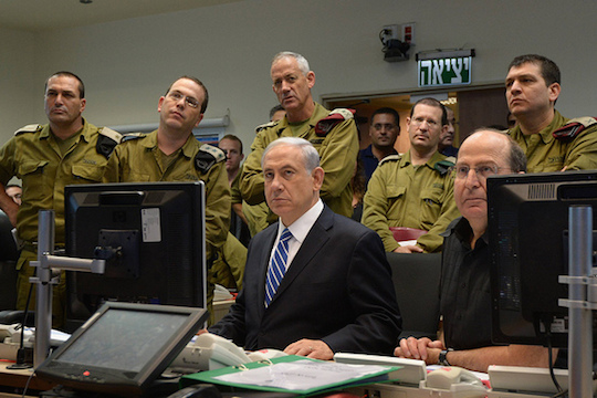 File photo of Prime Minister Netanyahu holding a security briefing with IDF generals, July 18, 2014. (Photo by Haim Zach/GPO)