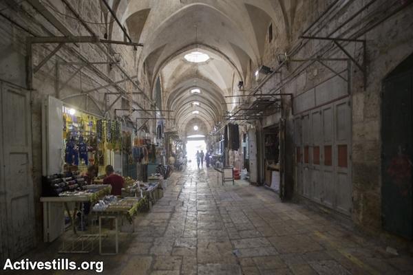 An alley in the Old City of Jerusalem, September 26, 2014. (Photo by Faiz Abu Rmeleh/Activestills.org)