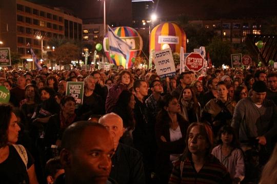The crowd at Saturday's memorial rally for Yitzhak Rabin. (photo: Haggai Matar)