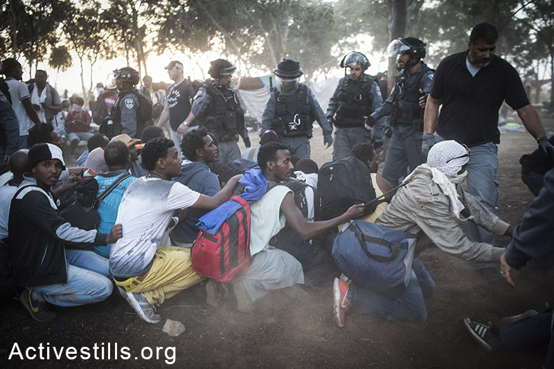 Israeli policemen and immigration officers arrest African asylum seekers near the Israeli-Egyptian border, forcing them back to the Holot detention facility, Negev Desert, June 29, 2014. A group of African asylum seekers settled in a small forest after marching from the Holot detention center, where they were jailed, to the Israel-Egypt border in protest of Israel's asylum policies, calling on the UN and the Red Cross to intervene. More than 800 Asylum seekers tried to reach to the border fence with Egypt, saying Israeli is not checking their asylum requests and they therefore seek to leave the country. Oren Ziv/Activestills.org   Read more on the protest action here and on Israel's asylum regime here.