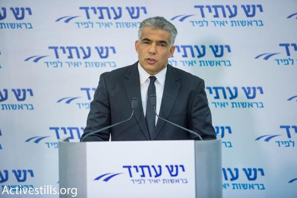 Yesh Atid chairman Yair Lapid (Photo by Activestills.org)