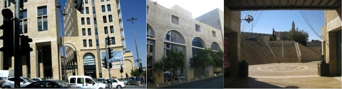(a) The Alrov Mamilla retail and entertainment corridor mimics the architecture of (b) David's Citadel Hotel, referencing David's Citadel and also built by Alrov Group; (c) East-facing tunnel view of Tower of David from Alrov Mamilla, 2013. All three structures are along King David's Street, drawing on the status of the historic King David Hotel up the road.