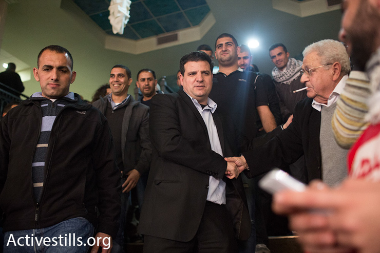 Ayman Odeh is seen minutes after he was elected to lead Hadash Party in the up-coming March 2015 elections, Nezereth, January 17, 2015. (photo: Activestills.org)