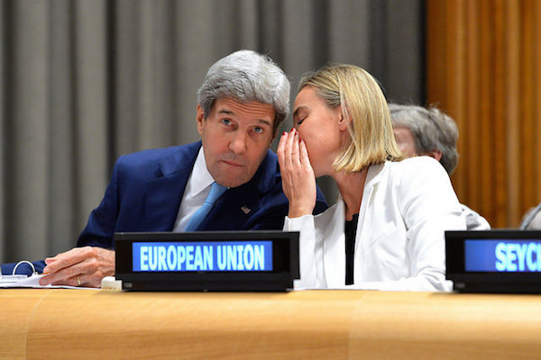 U.S. Secretary of State John Kerry speaks with EU Foreign Policy Chief Federica Mogherini,September 26, 2014. (State Dept Photo)