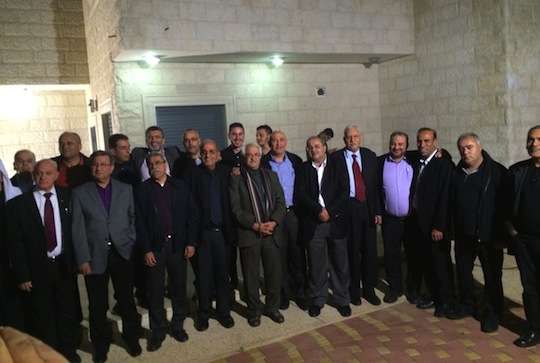Members of newly announced united Arab slate in Israel ahead of March 17, 2015 election. photo: Courtesy Balad)