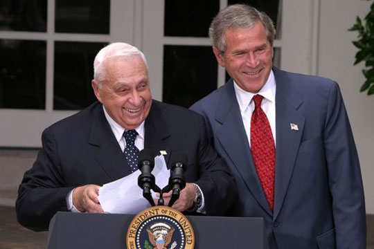 U.S. President George W. Bush and Israeli Prime Minister Ariel Sharon at the White House. (White House Photo/Paul Morse)