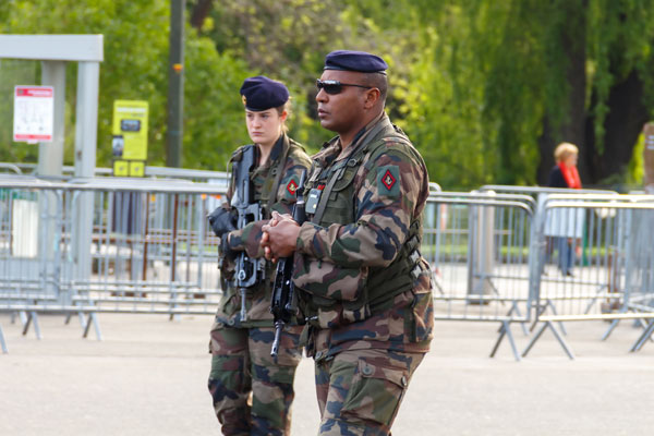 Stock photo of French marines patrolling in Paris. (Photo by Kavalenkau / Shutterstock.com)