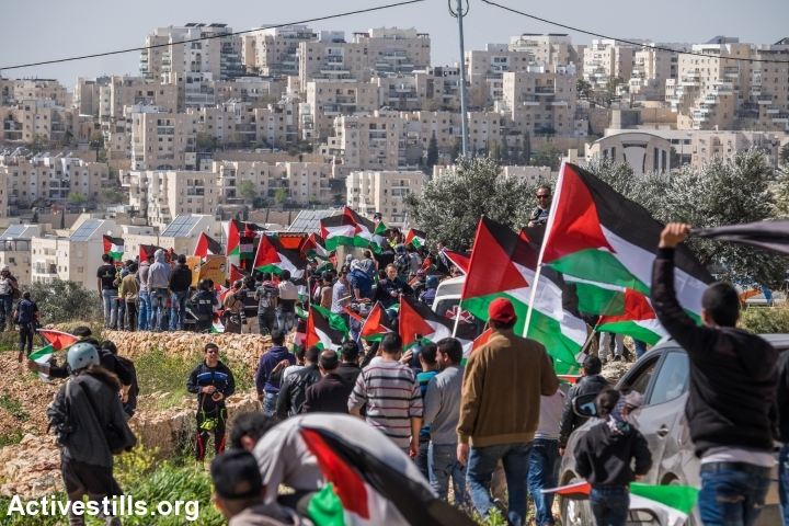 Palestinian, Israeli and international activists march during a protest marking ten years for the struggle against the Wall in the West Bank village Bil'in, February 27, 2015. (Yotam Ronen/Activestills.org)