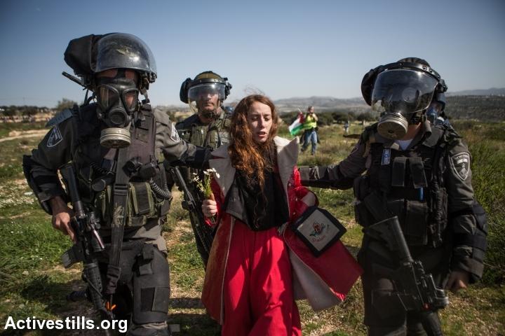 Israeli border policemen arrest an nonviolent Israeli protester during a demonstration marking ten years of popular struggle against in the West Bank village Bil'in, February 27, 2015. (photo: Yotam Ronen/Activestills.org)