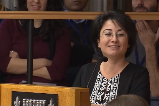 MK Haneen Zoabi addresses the Central Elections Committee during a hearing over her disqualification from Knesset elections, February 12, 2015. (Screenshot)