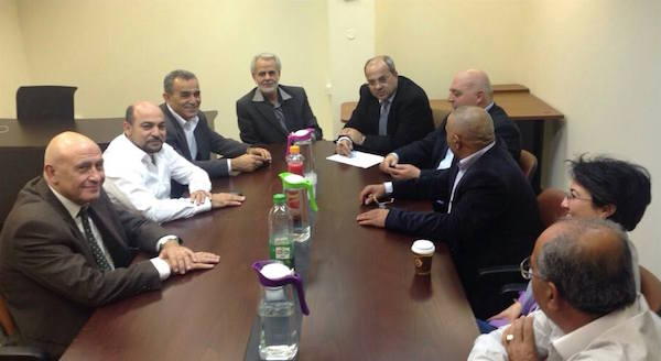 Members of Knesset from the Arab parties negotiating the formation of the Joint List. (Courtesy of Balad)