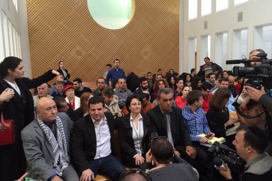 Balad MKs Basel Ghattas, Haneen Zoabi and Jamal Zahalkeh sit alongside Joint List chairman Ayman Odeh during a Supreme Court hearing on Zoabi's disqualification from the Knesset. (photo courtesy of the Joint List)