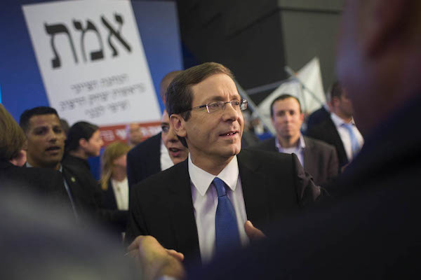 Labor party leader Isaac Herzog at campaign headquarters on election night, March 17, 2015. His slate, the Zionist Camp, fell far short of expectations that he might unseat PM Netanyahu. (Oren Ziv/Activestills.org)