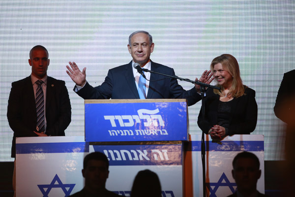 Benjamin Netanyahu gives a victory speech on election night, March 18, 2015. (Photo: +972 Magazine)