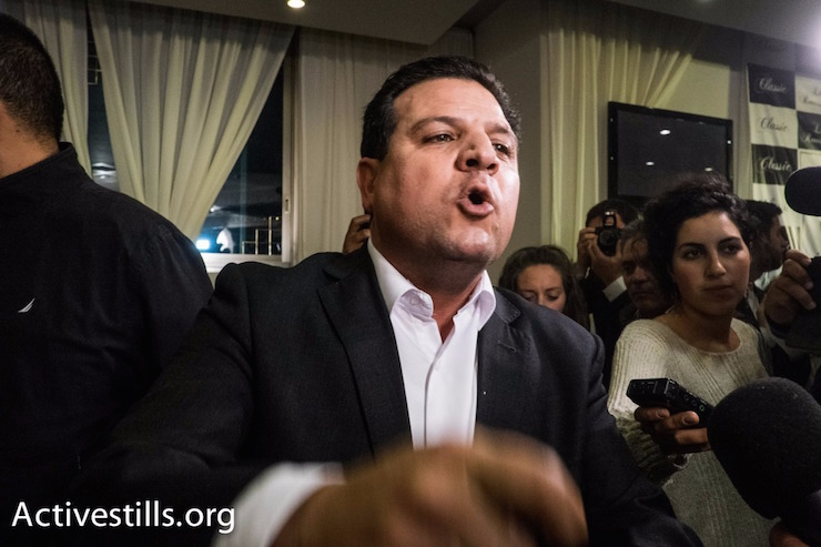 Joint List Chairman Ayman Odeh seen on election night, Nazareth, Israel, March 17, 2015. (photo: Oren Ziv/Activestills.org)