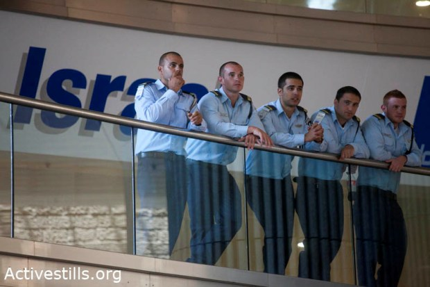 Israeli security personnel seen at Ben-Gurion International Airport. (photo: Activestills.org)