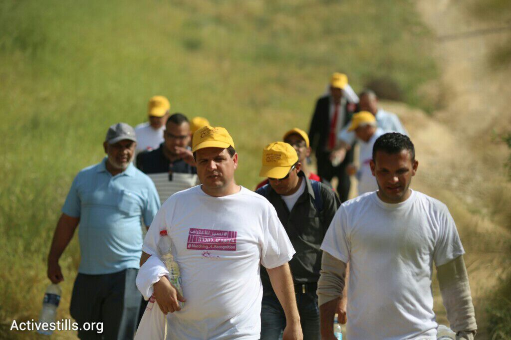 Joint List chair Ayman Odeh leads a recognition march throughout the unrecognized villages of the Negev, March 26, 2015. (photo: Oren Ziv/Activestills.org)