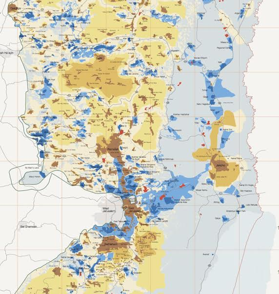 Map of Israeli settlements and areas under Israeli control in the West Bank. (B'Tselem)