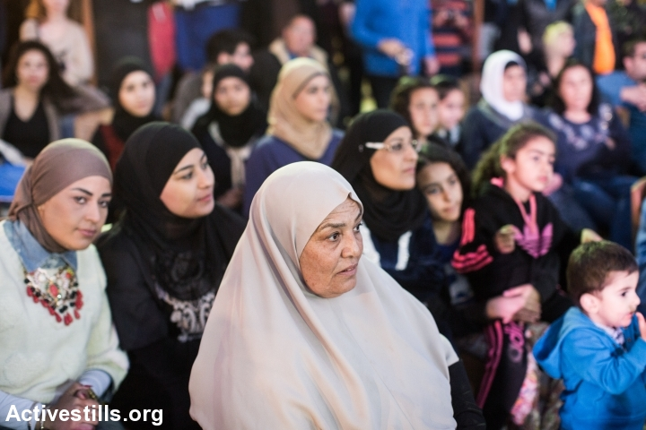 Palestinian women seen during the cultural event at the unrecognized village Dahmash, central Israel. (photo: Yotam Ronen/Activestills.org)