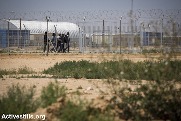 African asylum seekers at Israel's Holot detention facility in the Negev desert, February 18, 2014. (Photo: Activestills.org) Israel's High Court has twice struck down the law allowing the indefinite detention of asylum seekers.