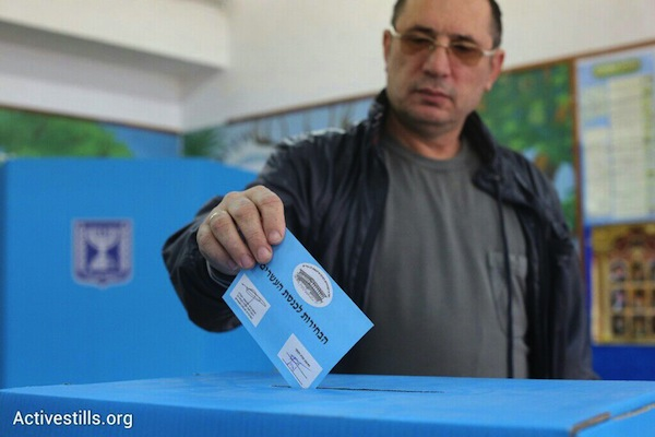An Israeli votes in national elections, March 17, 2015. (photo: Oren Ziv/Activestills.org)