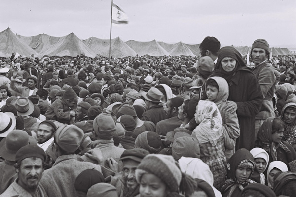 Jewish immigrants from Yemen at a transit camp near Rosh Ha'ayin after their arrival in Israel in the 1950s. (Photo: GPO)