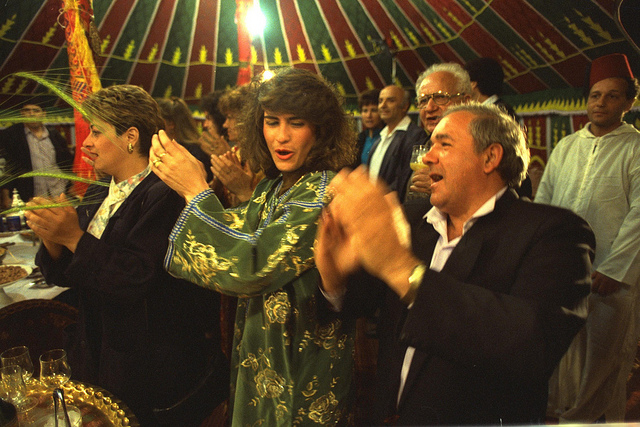 The Mimouna Festival, marking the end of Passover, is celebrated in a special tent in Jerusalem, April 16, 1990. (photo: Alpert Nathan/GPO)