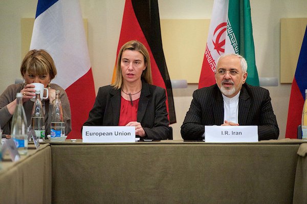 E.U. High Representative Mogherini Sits With Iranian Foreign Minister Zarif Before P5+1 Nations Resume Nuclear Talks in Switzerland, March 31, 2015. (State Dept. photo)