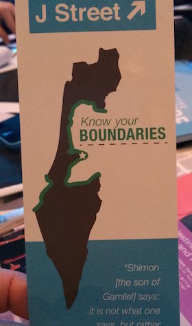 The bookmark designed by J Street for its conference. (Photo by Lisa Goldman)