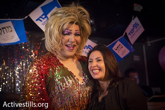 MK Miri Regev is seen with a drag queen at an event put on by Likud's LGBT chapter. (photo: Oren Ziv/Activestills.org)