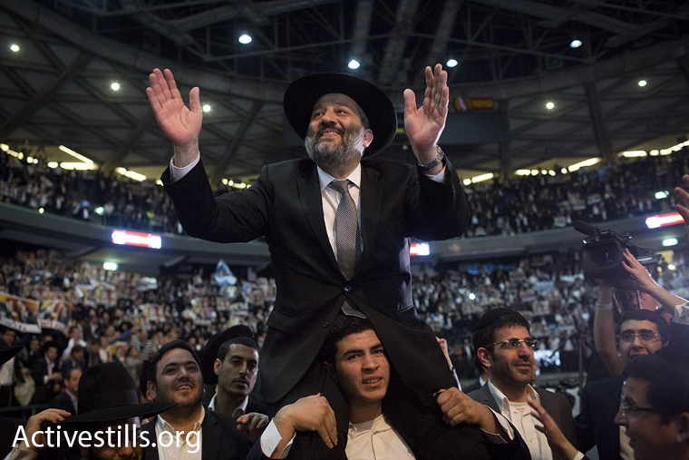 Aryeh Deri during Shas' 2015 election convention. (photo: Oren Ziv/Activestills.org)