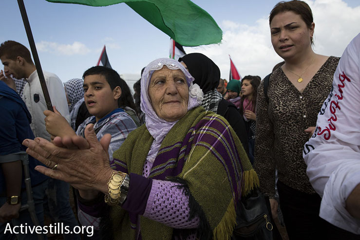 A Palestinian woman takes part in the March of Return, Galilee, April 23, 2015. (Akron Drawshi/Activestills.org)