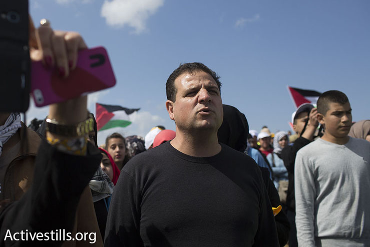 Hades MK Ayman Odeh takes part in the 18th annual March of Return, Hadatha, Lower Galilee, April 23, 2015. (Oren Ziv/Activestills.org)