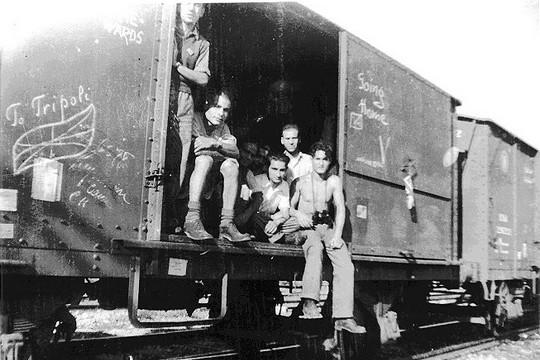 Holocaust survivors return to Libya from Bergen Belsen concentration camp, 1945. (Yad Vashem)