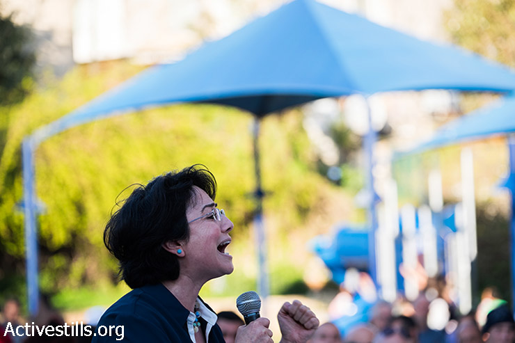 Haneen Zoabi, member of the Joint List Party, speaks during a campaign rally in Jaffa, Israel, March 14, 2015. (photo: Activestills.org)