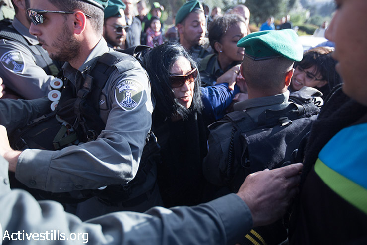 Demonstration at Damascus Gate in the Old City of Jerusalem, March 30, 2015. Protestors started a march that was disperse by Israeli police. Four were arrested. (photo: Activestills.org)
