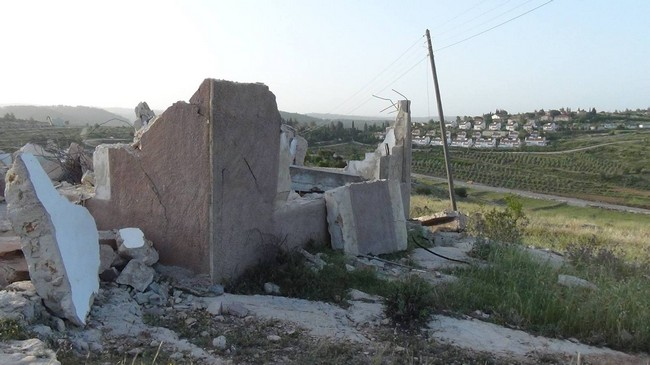 Ruins in Nabi Saleh, following Monday's demolition campaign. Credit: Bilal Tamimi