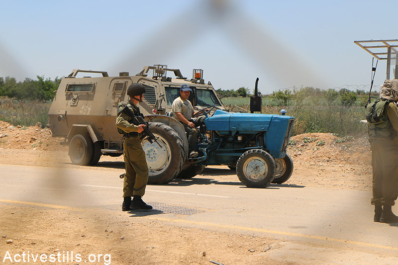 Palestinian farmer drives his tractor on the western side of the separation fence in Falamya village, West Bank, May 17, 2015. Ahmad al-Bazz / Activestills.org