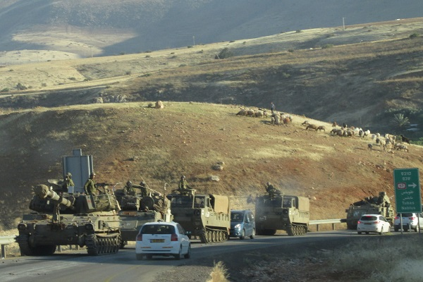 Israeli army tanks in the northern part of the Jordan Valley during extensive military drills in the area, May 4th, 2015. (Jordan Valley Solidarity)